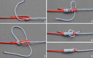 Как связать леску с резинкой между собой