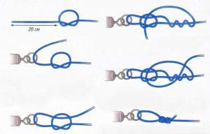 Как завязать крючки поводок и леску с леской видео