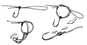 Как привязать леску с крючком на леску