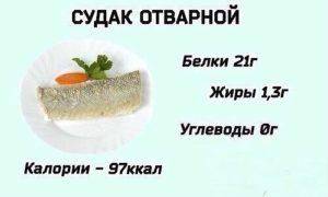 Сколько калорий в судаке на пару