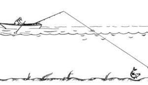 Ловля рыбы на дорожку на реке