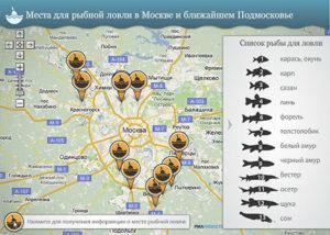 Карта рыбалки подмосковья