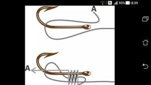 Как правильно привязать леску к крючку с ушком