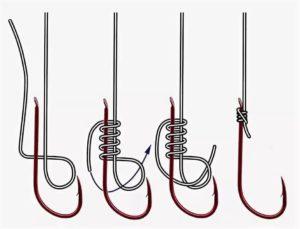 Как вязать леску к крючку без ушка