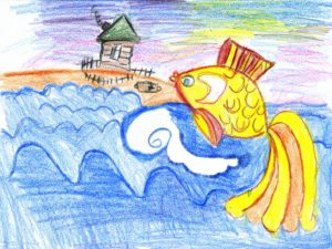 Детский рисунок о рыбаке и рыбке